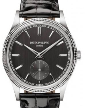 """Patek Philippe Calatrava """"Clous de Paris"""" White Gold 39mm Grey Dial Strap Manual 6119G-001 - BRAND NEW"""