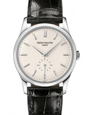 Patek Philippe Calatrava Small Seocnds Manual-Wind Silver Gray Index White Gold Leather 37mm 5196G-001 - BRAND NEW