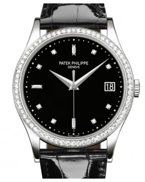 Patek Philippe Calatrava Sweep Seconds White Gold 38mm Black Diamond Dial Leather 5297G-001 - BRAND NEW