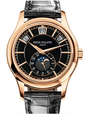 Patek Philippe Complications Annual Calendar Moon Phase Black Dial Rose Gold Bezel Black Leather Strap 40mm 5206R-010 - BRAND NEW