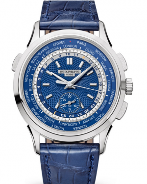 Patek Philippe Complications Blue Opaline Guilloched Index White Gold Leather 39.5mm 5930G-001 - BRAND NEW