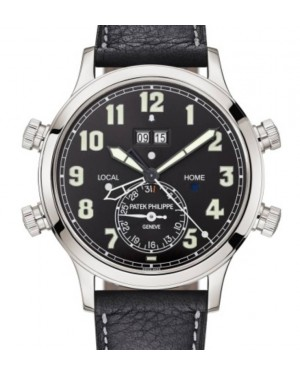 Patek Philippe Grand Complications Alarm Travel Time Platinum Black Dial Leather 42.2mm 5520P-001 - BRAND NEW