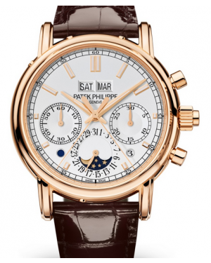 Patek Philippe Grand Complications Silver Opaline Index Dial Rose Gold Bezel Brown Leather Strap 40mm 5204R-001 - BRAND NEW