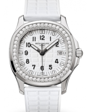 Patek Philippe Ladies Aquanaut White Embossed Arabic Diamond Bezel Stainless Steel Composite 35.6mm 5067A-024 - BRAND NEW