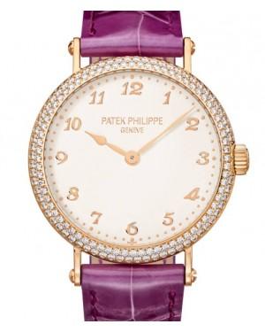 Patek Philippe Ladies Calatrava Ultra-Thin Rose Gold 34.6mm Silver Dial Diamond Bezel Leather 7200/200R-001 - BRAND NEW