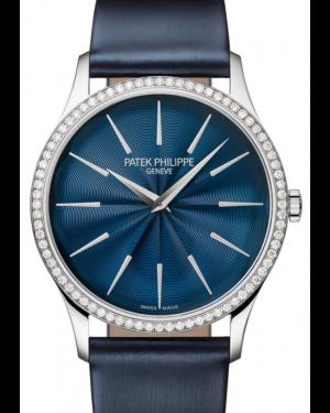 Patek Philippe Ladies Calatrava White Gold Diamond 33mm Blue Dial Satin Strap Manual 4997/200G-001 - BRAND NEW