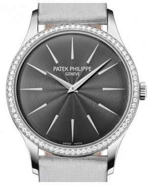 Patek Philippe Ladies Calatrava White Gold Diamond Bezel 33mm Grey Satin Dial 4897G-010 - BRAND NEW