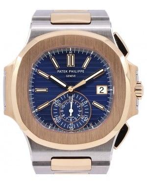 Patek Philippe Nautilus Chronograph Date Rose Gold/Steel 40.5 mm Blue Dial Bracelet 5980/1AR - PRE-OWNED
