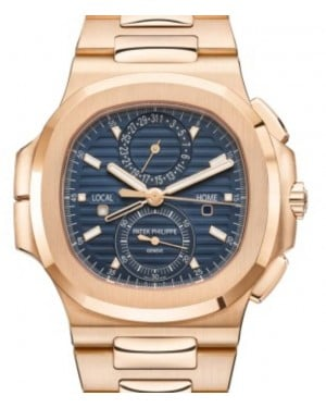 Patek Philippe Nautilus Date Sweep Seconds Rose Gold 40.5mm Blue Dial Bracelet 5990/1R-001  - BRAND NEW