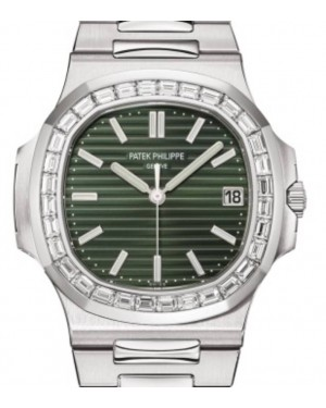 Patek Philippe Nautilus Date Sweep Seconds Stainless Steel 40mm Green Dial Diamond Bezel Bracelet 5711-1300A-001  - BRAND NEW