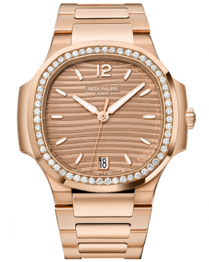 Patek Philippe Nautilus Ladies Automatic Gold Golden Brown Opaline Dial Diamond Bezel Bracelet 35.2 mm 7118/1200R-010 - BRAND NEW