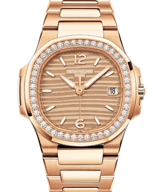 Patek Philippe Nautilus Golden Dial Diamond Bezel Rose Gold Bracelet 32 mm 7010-1R-012 - BRAND NEW