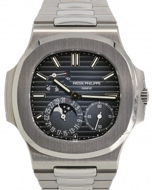 Patek Philippe Nautilus Moon Phase Blue Index Dial Stainless Steel Bezel & Bracelet 40mm 5712/1A-001