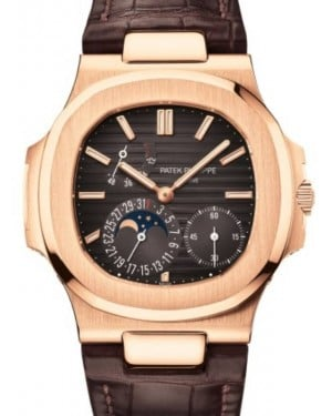 Patek Philippe Nautilus Date Moon Phase Rose Gold 40mm Black Brown Dial Leather Strap 5712R-001 - BRAND NEW