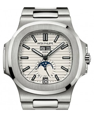 Patek Philippe Nautilus Moon Phase Date Stainless Steel 40.5mm White Index 5726/1A-010 - BRAND NEW