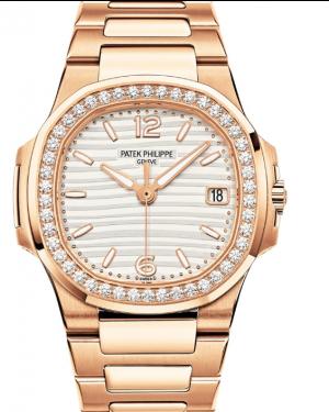 Patek Philippe Nautilus Silver Opaline Dial Diamond Bezel Rose Gold Bracelet 32 mm 7010/1R