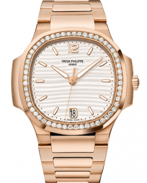 Patek Philippe Nautilus Silver Opaline Dial Diamond Bezel Rose Gold Bracelet 35.2 mm 7118-1200R-001 - BRAND NEW