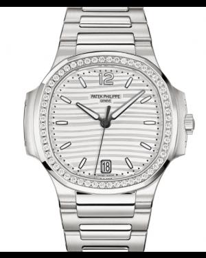 Patek Philippe Nautilus Ladies Automatic Silver Opaline Dial Diamond Bezel Stainless Steel Bracelet 35.2 mm 7118/1200A-010 - BRAND NEW