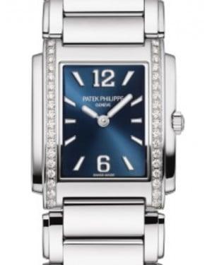 Patek Philippe Twenty~4 Ladies Blue Sunburst Index/Roman Dial Diamond Bezel Stainless Steel Bracelet 25mm 4910/1200A-001 - BRAND NEW