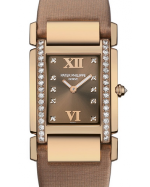 Patek Philippe Twenty~4 Ladies Brown Roman Dial Rose Gold Diamond Set Bezel Brown Leather Strap Quartz 4920R-001 - BRAND NEW
