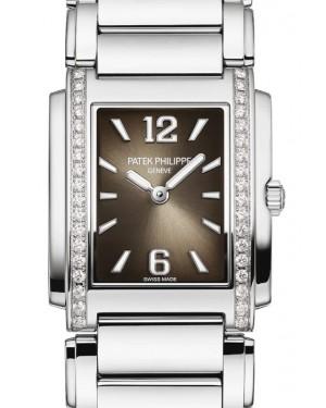 Patek Philippe Twenty~4 Ladies Gray Sunburst Index/Roman Dial Diamond Bezel Stainless Steel Bracelet 25mm 4910/1200A - BRAND NEW