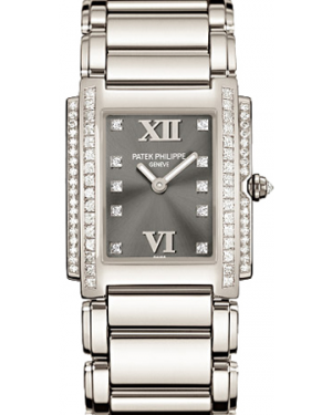 Patek Philippe Twenty~4 Ladies Grey Roman Diamond Set Dial White Gold Automatic 25 x 30mm 4910/20G-010 - BRAND NEW