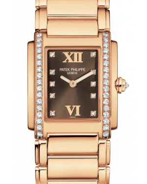 Patek Philippe Twenty~4 Ladies Medium Brown Roman Diamond Set Dial & Bezel Rose Gold Quartz 4910/11R-010 - BRAND NEW