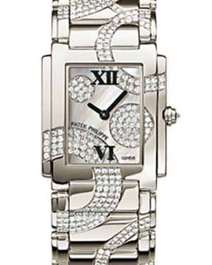 Patek Philippe Twenty~4 Ladies White Mother of Pearl Diamond Roman Dial White Gold Bezel & Bracelet 4910/49G - BRAND NEW