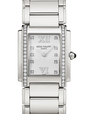 Patek Philippe Twenty~4 Ladies White Roman Diamond Set Stainless Steel Quartz 4910/10A-011 - BRAND NEW