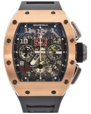 Richard Mille Automatic Flyback Chronograph Rose Gold/Titanium Skeleton Dial Rubber Strap RM11