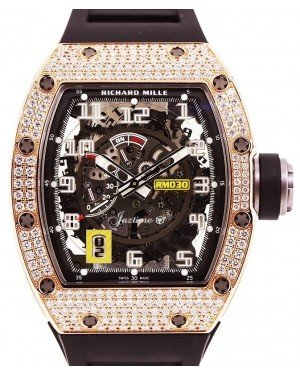 Richard Mille Declutchable Rotor Rose Gold Skeleton Dial Diamond Bezel Rubber Strap RM030 - BRAND NEW