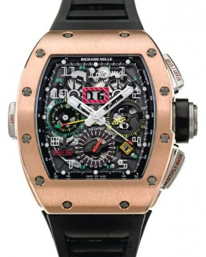 Richard Mille Flyback Chronograph Dual-Time Rose Gold/Titanium Skeleton Dial Rubber RM11-02