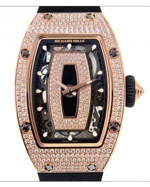 Richard Mille Lady Rose Gold Full Set Diamond Skeleton Onyx Dial Rubber Strap RM07-01