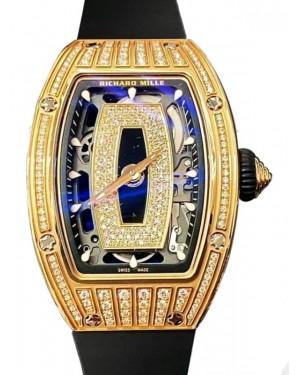 Richard Mille Lady Rose Gold Medium Set Diamond Skeleton Onyx Dial Rubber Strap RM07-01 - BRAND NEW