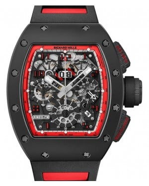 "Richard Mille Flyback Chronograph ""Midnight Fire"" Carbon Skeleton Dial Carbon Bezel RM011"