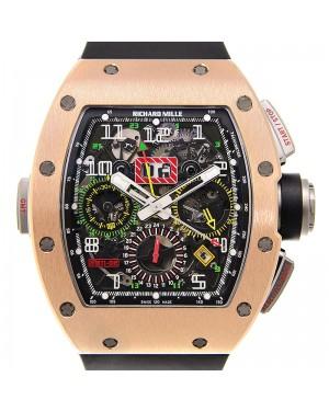 Richard Mille GMT Rose Gold/Titanium Skeleton Dial Rubber Strap RM11-02