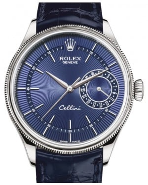 Rolex Cellini Date White Gold Blue Guilloche Index Dial Domed & Fluted Double Bezel Blue Leather Bracelet 50519 - BRAND NEW