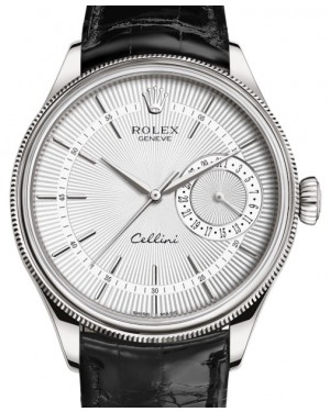Rolex Cellini Date White Gold Silver Guilloche Index Dial Domed & Fluted Double Bezel Black Leather Bracelet 50519 - BRAND NEW
