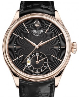 Rolex Cellini Dual Time Rose Gold Black Guilloche Index Dial Domed & Fluted Double Bezel Black Leather Bracelet 50525 - BRAND NEW