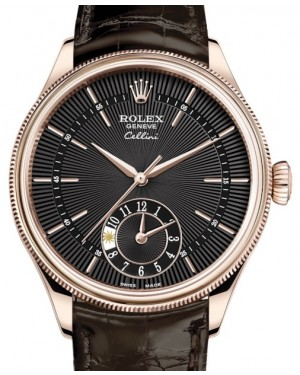Rolex Cellini Dual Time Rose Gold Black Guilloche Index Dial Domed & Fluted Double Bezel Tobacco Leather Bracelet 50525 - BRAND NEW