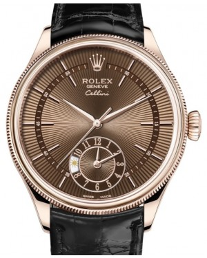 Rolex Cellini Dual Time Rose Gold Brown Guilloche Index Dial Domed & Fluted Double Bezel Black Leather Bracelet 50525 - BRAND NEW
