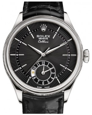 Rolex Cellini Dual Time White Gold Black Guilloche Index Dial Domed & Fluted Double Bezel Black Leather Bracelet 50529 - BRAND NEW
