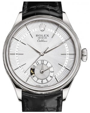 Rolex Cellini Dual Time White Gold Silver Guilloche Index Dial Domed & Fluted Double Bezel Black Leather Bracelet 50529 - BRAND NEW