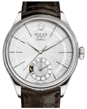 Rolex Cellini Dual Time White Gold Silver Guilloche Index Dial Domed & Fluted Double Bezel Tobacco Leather Bracelet 50529 - BRAND NEW