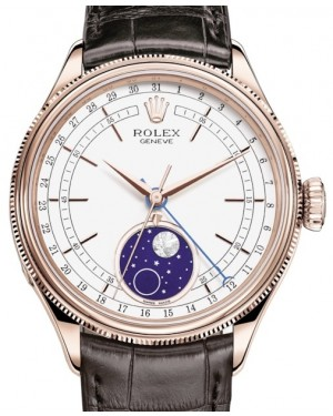 Rolex Cellini Moonphase Rose Gold White Index Dial Domed & Fluted Double Bezel Tobacco Leather Bracelet 50535 - BRAND NEW
