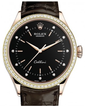 Rolex Cellini Time Rose Gold Black Diamond Dial Diamond Bezel Tobacco Leather Bracelet 50705RBR - BRAND NEW