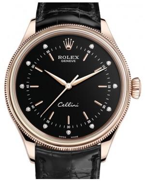 Rolex Cellini Time Rose Gold Black Diamond Dial Domed & Fluted Double Bezel Black Leather Bracelet 50505 - BRAND NEW
