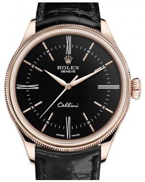 Rolex Cellini Time Rose Gold Black Index / Roman Dial Domed & Fluted Double Bezel Black Leather Bracelet 50505 - BRAND NEW