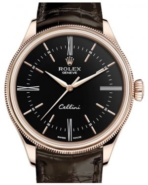 Rolex Cellini Time Rose Gold Black Index / Roman Dial Domed & Fluted Double Bezel Tobacco Leather Bracelet 50505 - BRAND NEW