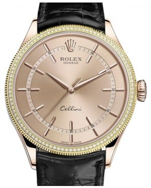 Rolex Cellini Time Rose Gold Pink Index Dial Diamond & Fluted Double Bezel Black Leather Bracelet 50605RBR - BRAND NEW